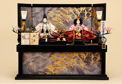 K-312 収納飾り 雛人形 京都西陣帯 新小石丸