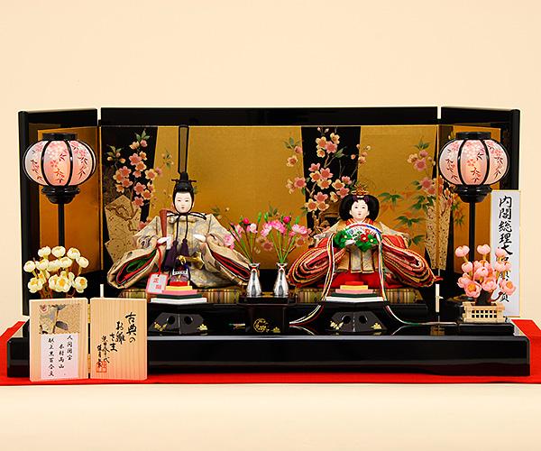 K-504 平飾り 雛人形 人間国宝 木村雨山献上の黒百合文の帯