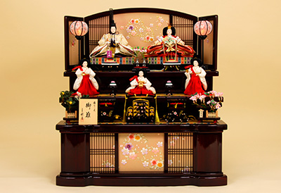 K-13 3段飾り 雛人形 京都西陣帯 吉祥四君子文 【佳月オリジナル】