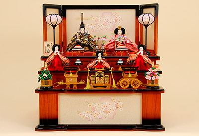 K-316 収納飾り 雛人形 殿:純金雛 姫:プラチナ雛