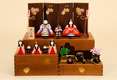 K-409 真多呂作 東山雛 官女付 収納(1370) 木目込人形