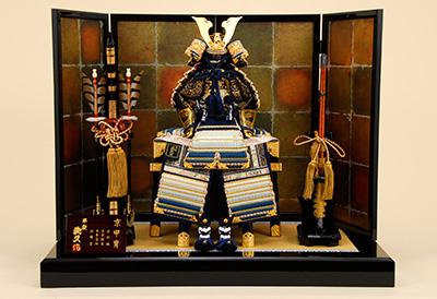五月人形 K-412 京鎧平飾り 8号沢潟縅之鎧【京甲冑】