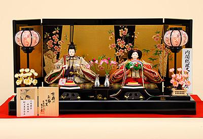 K-504 平飾り 雛人形 人間国宝 木村雨山献上の黒百合文の帯 【柴田家千代】
