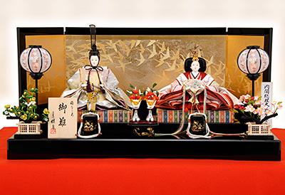 K-8 平飾り 雛人形 京都西陣帯 菊詰文様 【佳月オリジナル】