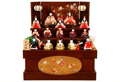K-412 真多呂作 収納3段飾り 木目込人形
