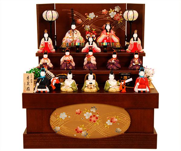 K-412 真多呂作 収納3段飾り【木目込人形】