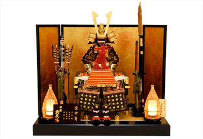 五月人形 K-410 京鎧平飾り 朱赤糸縅之兜【京甲冑】