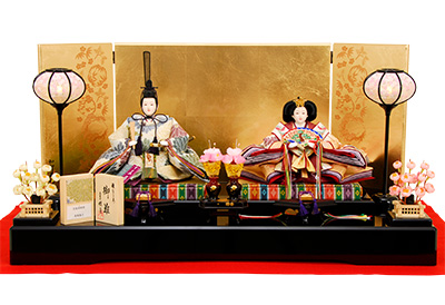 K-13 平飾り 雛人形 京都西陣帯 菱菊重文 【佳月オリジナル】