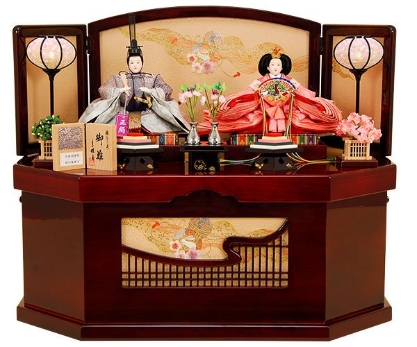 K-311 収納飾り 雛人形 京都西陣帯 桐竹鳳凰文